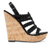 Braided faux suede and cork wedge sandals