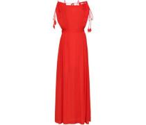 Evalene Cold-shoulder Crepe Maxi Dress Red