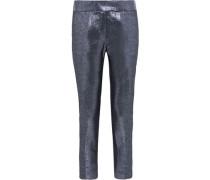 Dani Cropped Lamé Slim-leg Pants Silver