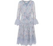 Guipure lace-trimmed floral-print georgette dress