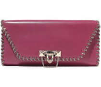 Demilune Chain-embellished Leather Clutch Magenta Size --
