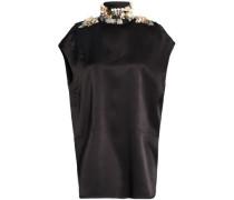 Cutout Embellished Satin Blouse Black