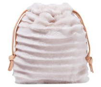 Leather-trimmed Shearling Pouch Baby Pink Size --