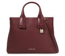 Woman Large Textured-leather Tote Burgundy