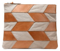 Paneled Leather And Canvas Pouch Tan Size --