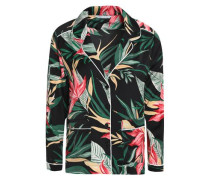 Floral-print Satin Shirt Black