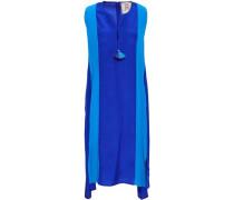 Karina Tasseled Two-tone Silk Dress Blue