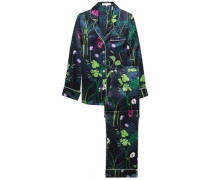 Lila Gene Floral-print Silk-satin Pajama Set Navy Size 1