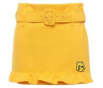 Woman Belted Appliquéd Tech-jersey Mini Skirt Marigold