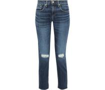 Ankle Dre Cropped Distressed Mid-rise Slim-leg Jeans Mid Denim  8