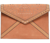 Woman Leather-paneled Studded Suede Envelope Clutch Tan