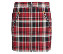 Checked Cotton-twill Mini Skirt Red Size 0