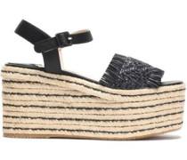 Fringe-trimmed woven leather platform espadrille sandals