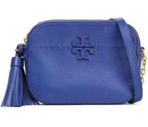 Tassel-trimmed Logo-embellished Textured-leather Shoulder Bag Indigo Size --