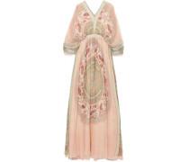 Woman Printed Silk-crepon Maxi Dress Blush