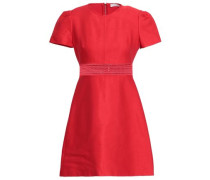 Lace-trimmed Cotton-blend Twill Mini Dress Red
