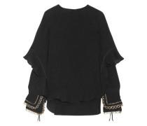Ruffled Metallic-trimmed Silk-seersucker Blouse Black