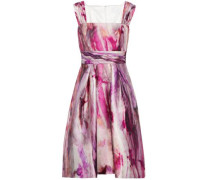 Gathered printed satin-faille dress