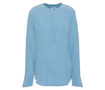 Washed-silk Blouse Light Blue