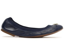 Embellished smooth and patent-leather ballet flats