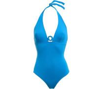 Studio Effect Ring-embellished Halterneck Swimsuit Blue