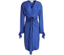 Tie-front ruched cotton-poplin dress