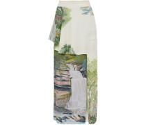 Layered printed crepe de chine maxi skirt
