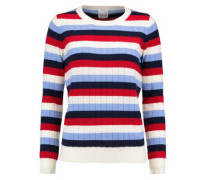 Amber striped wool and cashmere-blend ribbed-knit sweater