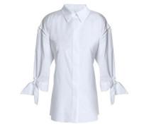 Tie-back cotton-poplin shirt