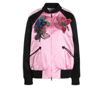 Woman Embellished Silk-satin Bomber Jacket Pink