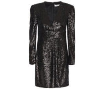 Wrap-effect Sequined Tulle Mini Dress Black