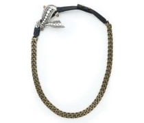 Leather, silver and gold-tone and crystal necklace