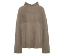Woman Oversized Mélange Wool-blend Turtleneck Sweater Army Green