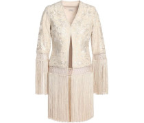 Fringed embroidered silk jacket