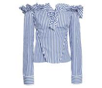 Off-the-shoulder Striped Cotton-poplin Shirt Royal Blue