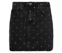 Polka-dot Denim Mini Skirt Charcoal  4