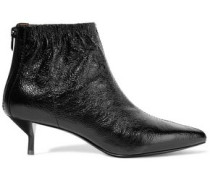 Blitz textured glossed-leather ankle boots