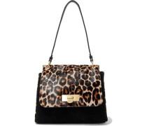 Baylee Leopard-print Calf Hair-paneled Suede Shoulder Bag Animal Print Size --