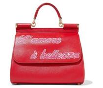 Woman Sicily Appliquéd Textured-leather Shoulder Bag Red