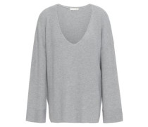 Veronica Ribbed Cotton-blend Sweater Light Gray