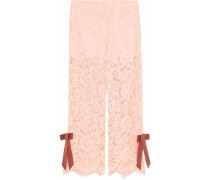 Cropped bow-embellished corded lace wide-leg pants