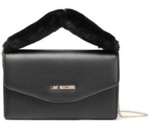 Faux Fur-trimmed Embellished Faux Leather Clutch Black Size --
