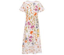 Woman Floral-print Cloqué Midi Dress White