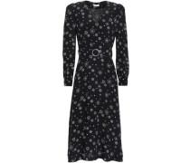 Woman Romani Belted Printed Silk Crepe De Chine Midi Dress Black