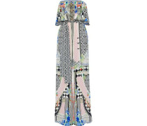 Meet Me Here Strapless Embellished Printed Silk Crepe De Chine Jumpsuit Multicolor