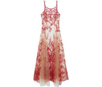 Pleated embroidered silk-blend tulle nightgown