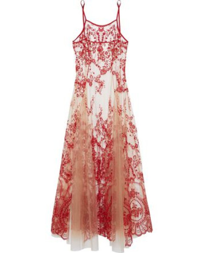 Pleated embroidered tulle nightgown