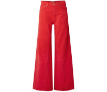 Woman High-rise Wide-leg Jeans Red
