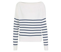 Striped Ribbed-knit Sweater White