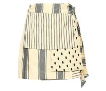 Patchwork-effect Printed Cotton-gauze Mini Wrap Skirt Black